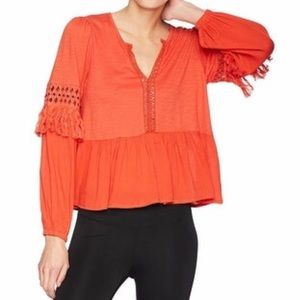 NWT Lucky Brand Orange Peplum Tassel Boho Blouse